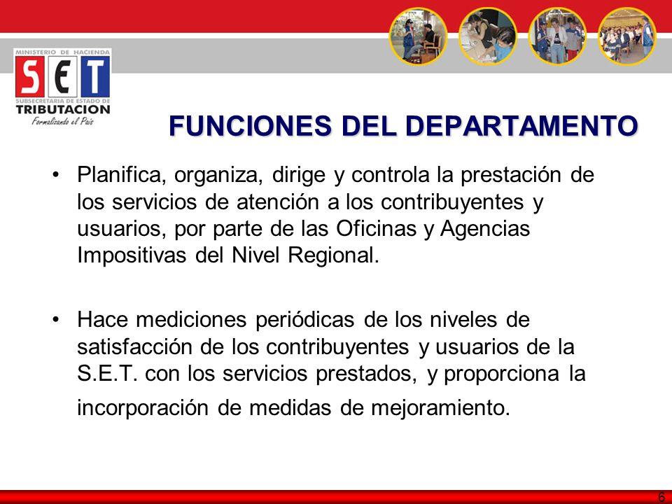 6 FUNCIONES DEL DEPARTAMENTO Planifica, organiza, dirige y controla la prestación de los servicios de atención a los contribuyentes y usuarios, por pa