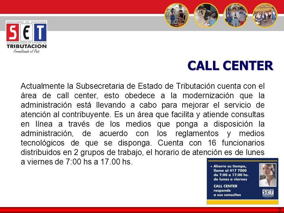 9 Actualmente la Subsecretaria de Estado de Tributación cuenta con el área de call center, esto obedece a la modernización que la administración está