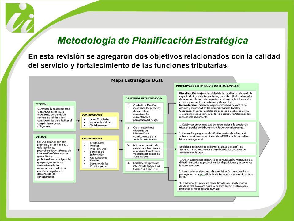 En esta revisión se agregaron dos objetivos relacionados con la calidad del servicio y fortalecimiento de las funciones tributarias. Metodología de Pl