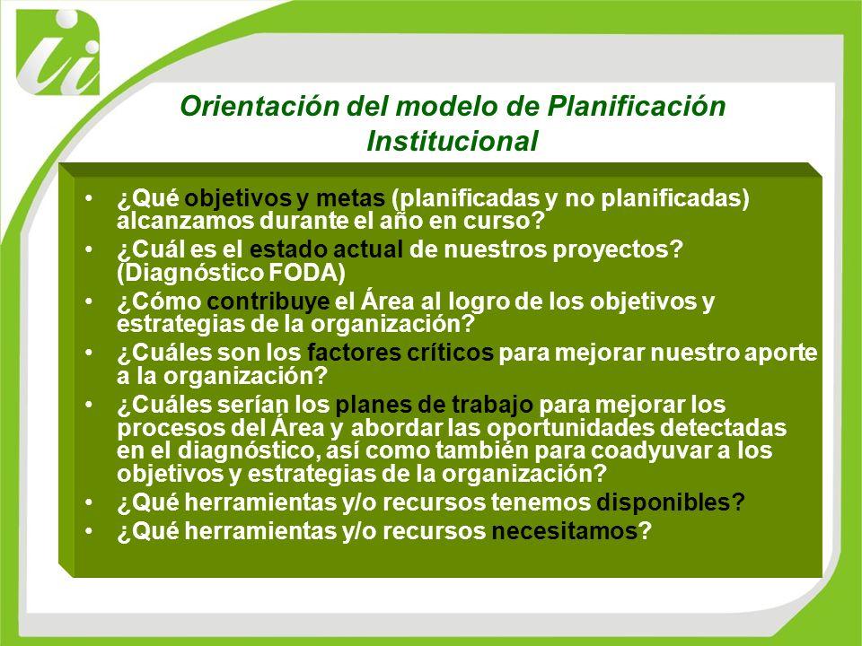 Orientación del modelo de Planificación Institucional ¿Qué objetivos y metas (planificadas y no planificadas) alcanzamos durante el año en curso? ¿Cuá