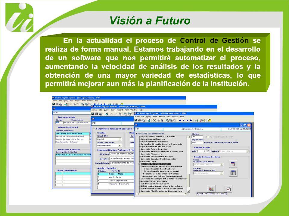 Visión a Futuro En la actualidad el proceso de Control de Gestión se realiza de forma manual. Estamos trabajando en el desarrollo de un software que n
