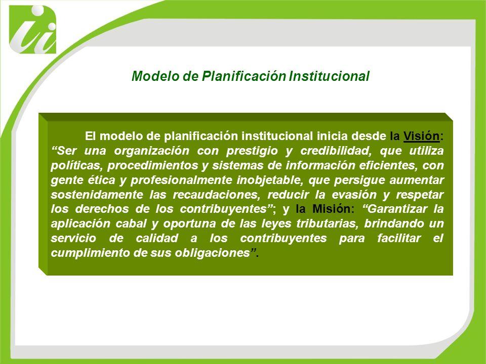 El modelo de planificación institucional inicia desde la Visión: Ser una organización con prestigio y credibilidad, que utiliza políticas, procedimien