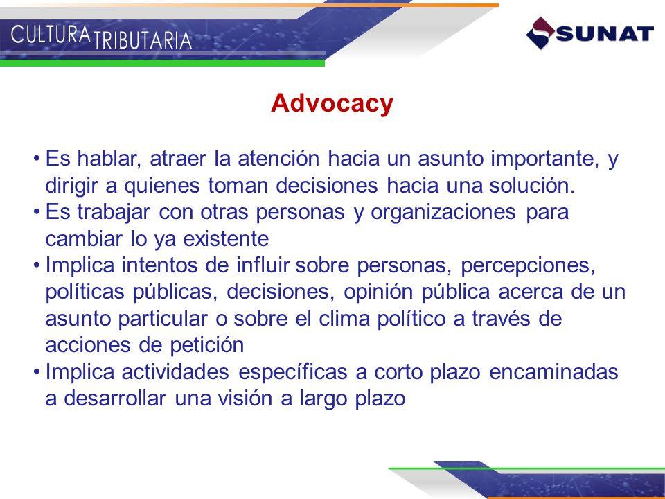 Advocacy Es hablar, atraer la atención hacia un asunto importante, y dirigir a quienes toman decisiones hacia una solución. Es trabajar con otras pers