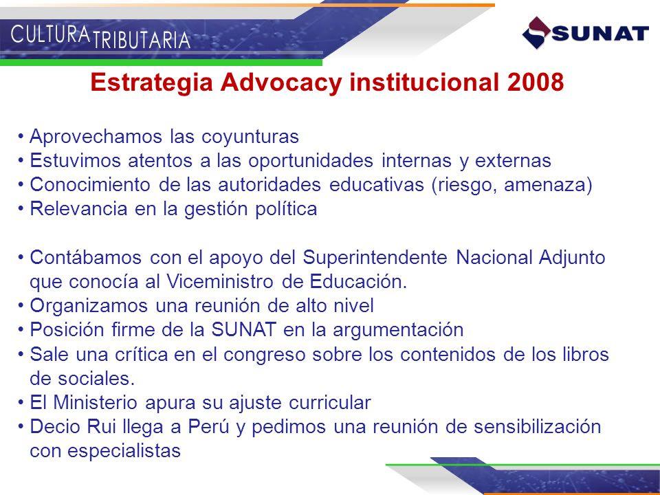 Estrategia Advocacy institucional 2008 Aprovechamos las coyunturas Estuvimos atentos a las oportunidades internas y externas Conocimiento de las autor