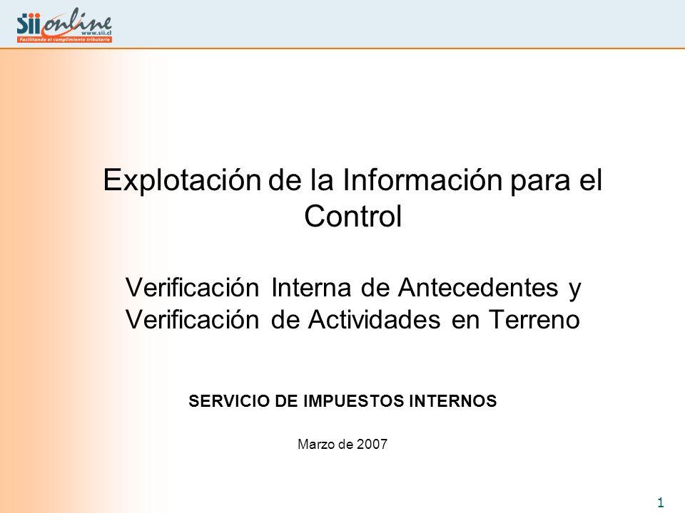 1 Explotación de la Información para el Control Verificación Interna de Antecedentes y Verificación de Actividades en Terreno SERVICIO DE IMPUESTOS IN