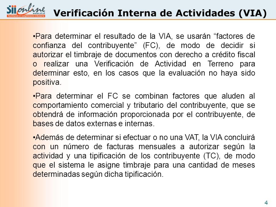 4 Verificación Interna de Actividades (VIA) Para determinar el resultado de la VIA, se usarán factores de confianza del contribuyente (FC), de modo de