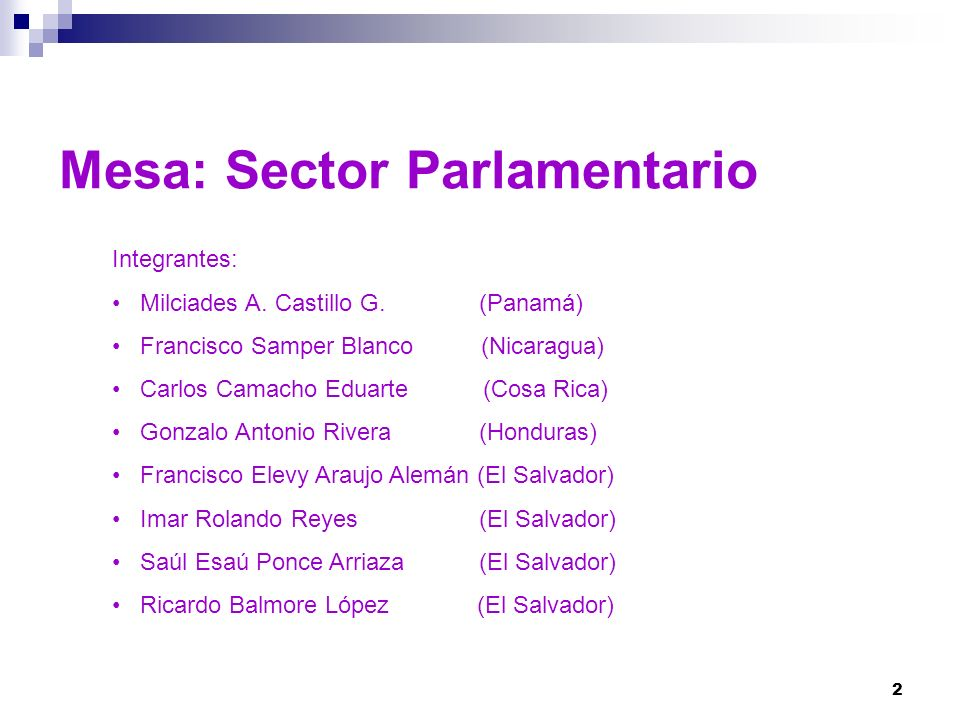 2 Mesa: Sector Parlamentario Integrantes: Milciades A. Castillo G. (Panamá) Francisco Samper Blanco (Nicaragua) Carlos Camacho Eduarte (Cosa Rica) Gon