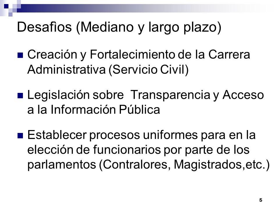 5 Desafìos (Mediano y largo plazo) Creación y Fortalecimiento de la Carrera Administrativa (Servicio Civil) Legislación sobre Transparencia y Acceso a