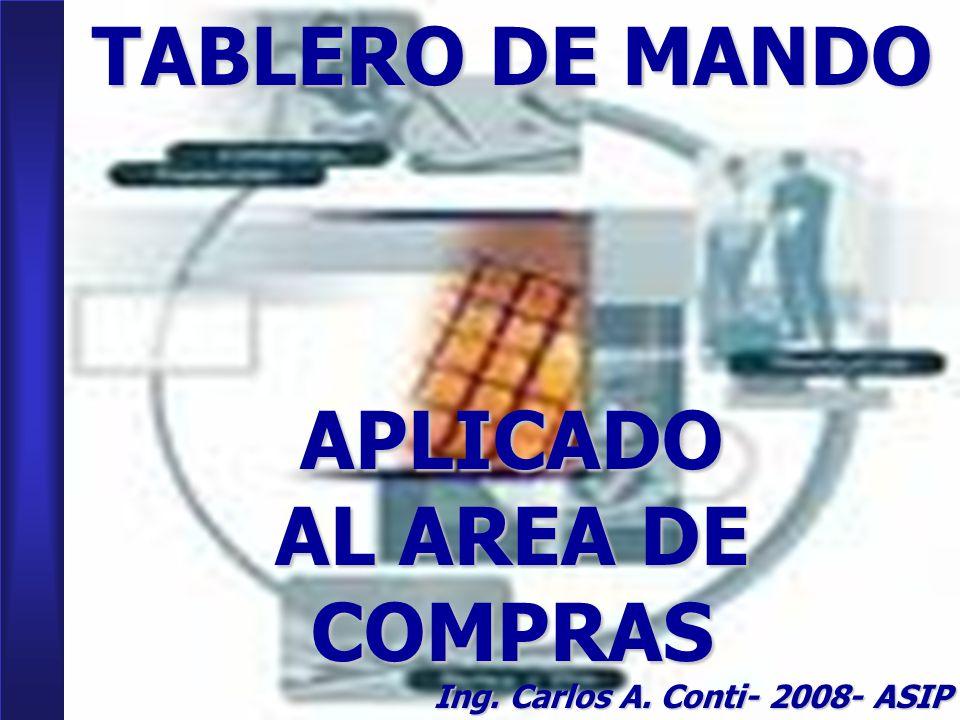1 TABLERO DE MANDO APLICADO AL AREA DE COMPRAS Ing. Carlos A. Conti- 2008- ASIP