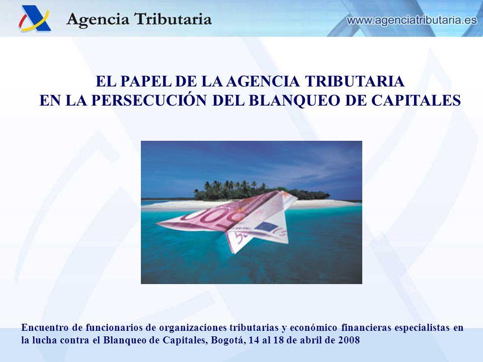 EL PAPEL DE LA AGENCIA TRIBUTARIA EN LA PERSECUCIÓN DEL BLANQUEO DE CAPITALES Encuentro de funcionarios de organizaciones tributarias y económico fina