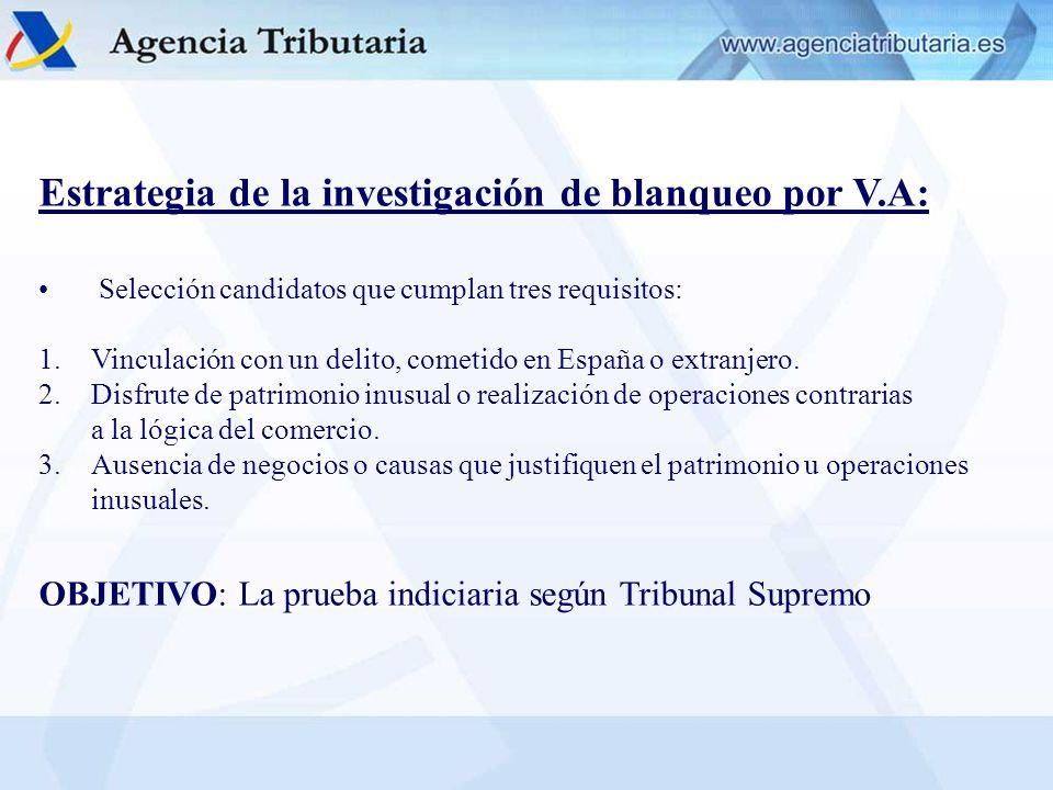 Estrategia de la investigación de blanqueo por V.A: Selección candidatos que cumplan tres requisitos: 1.Vinculación con un delito, cometido en España