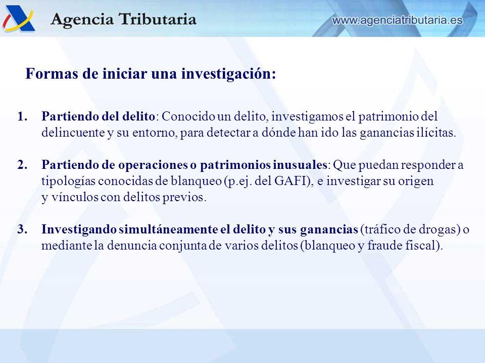 Formas de iniciar una investigación: 1.Partiendo del delito: Conocido un delito, investigamos el patrimonio del delincuente y su entorno, para detecta