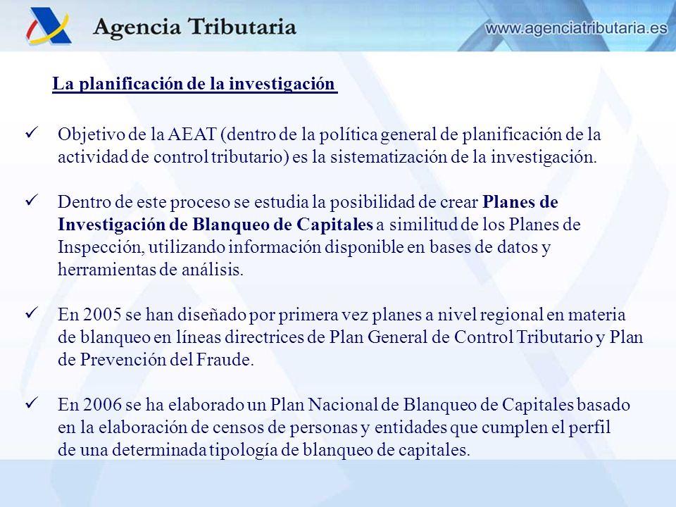 La planificación de la investigación Objetivo de la AEAT (dentro de la política general de planificación de la actividad de control tributario) es la