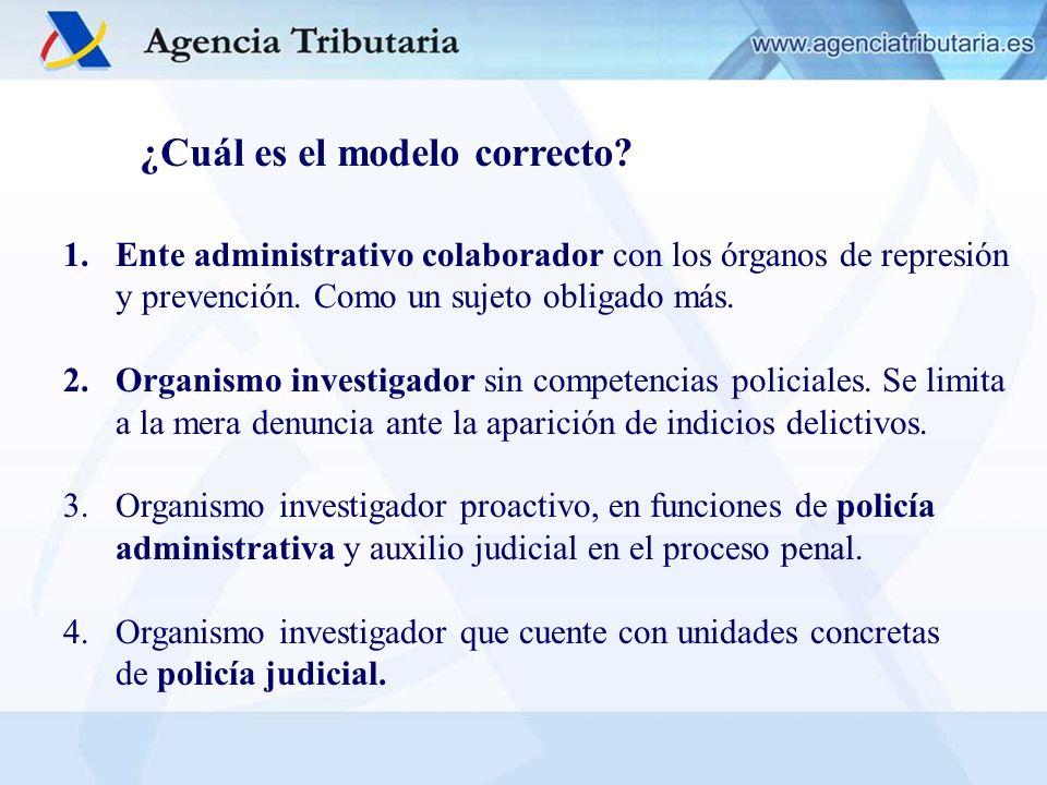 ¿Cuál es el modelo correcto? 1.Ente administrativo colaborador con los órganos de represión y prevención. Como un sujeto obligado más. 2.Organismo inv