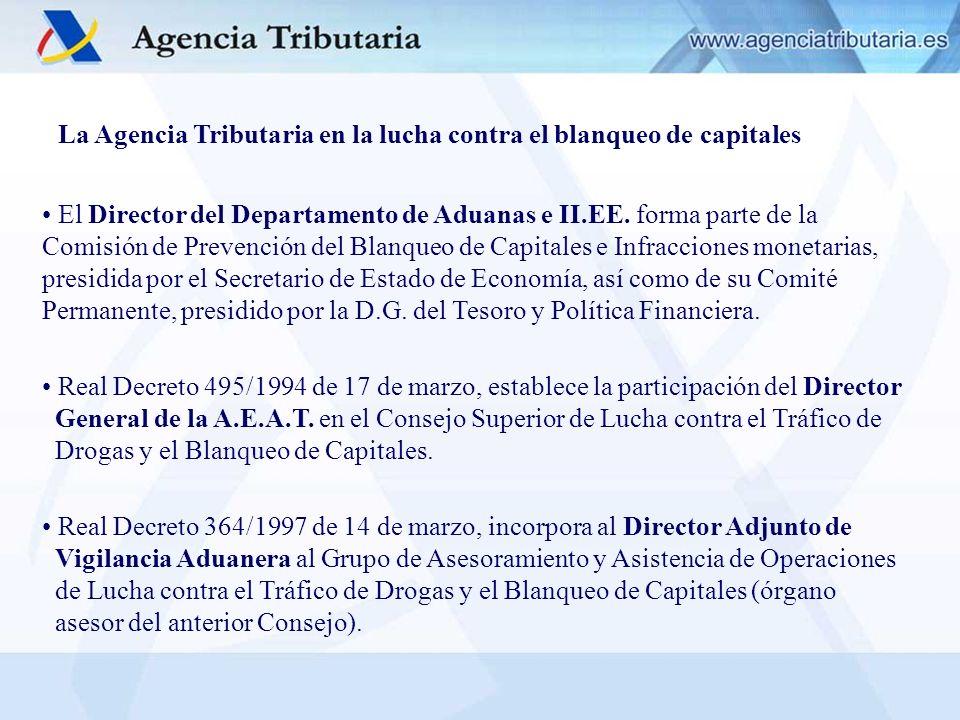 La Agencia Tributaria en la lucha contra el blanqueo de capitales El Director del Departamento de Aduanas e II.EE. forma parte de la Comisión de Preve