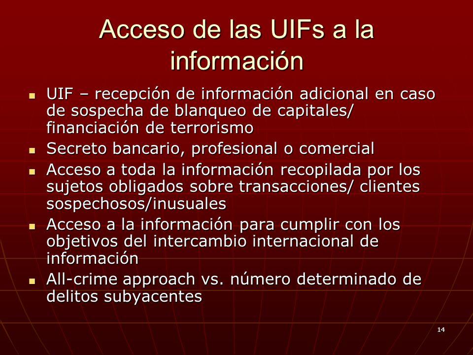 14 Acceso de las UIFs a la información UIF – recepción de información adicional en caso de sospecha de blanqueo de capitales/ financiación de terrorismo UIF – recepción de información adicional en caso de sospecha de blanqueo de capitales/ financiación de terrorismo Secreto bancario, profesional o comercial Secreto bancario, profesional o comercial Acceso a toda la información recopilada por los sujetos obligados sobre transacciones/ clientes sospechosos/inusuales Acceso a toda la información recopilada por los sujetos obligados sobre transacciones/ clientes sospechosos/inusuales Acceso a la información para cumplir con los objetivos del intercambio internacional de información Acceso a la información para cumplir con los objetivos del intercambio internacional de información All-crime approach vs.