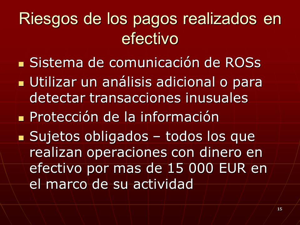 15 Riesgos de los pagos realizados en efectivo Sistema de comunicación de ROSs Sistema de comunicación de ROSs Utilizar un análisis adicional o para detectar transacciones inusuales Utilizar un análisis adicional o para detectar transacciones inusuales Protección de la información Protección de la información Sujetos obligados – todos los que realizan operaciones con dinero en efectivo por mas de 15 000 EUR en el marco de su actividad Sujetos obligados – todos los que realizan operaciones con dinero en efectivo por mas de 15 000 EUR en el marco de su actividad