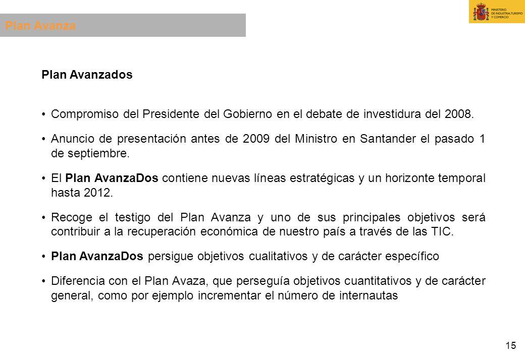 15 Plan Avanzados Compromiso del Presidente del Gobierno en el debate de investidura del 2008. Anuncio de presentación antes de 2009 del Ministro en S