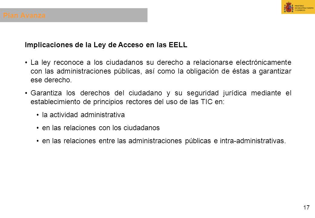 17 Implicaciones de la Ley de Acceso en las EELL La ley reconoce a los ciudadanos su derecho a relacionarse electrónicamente con las administraciones