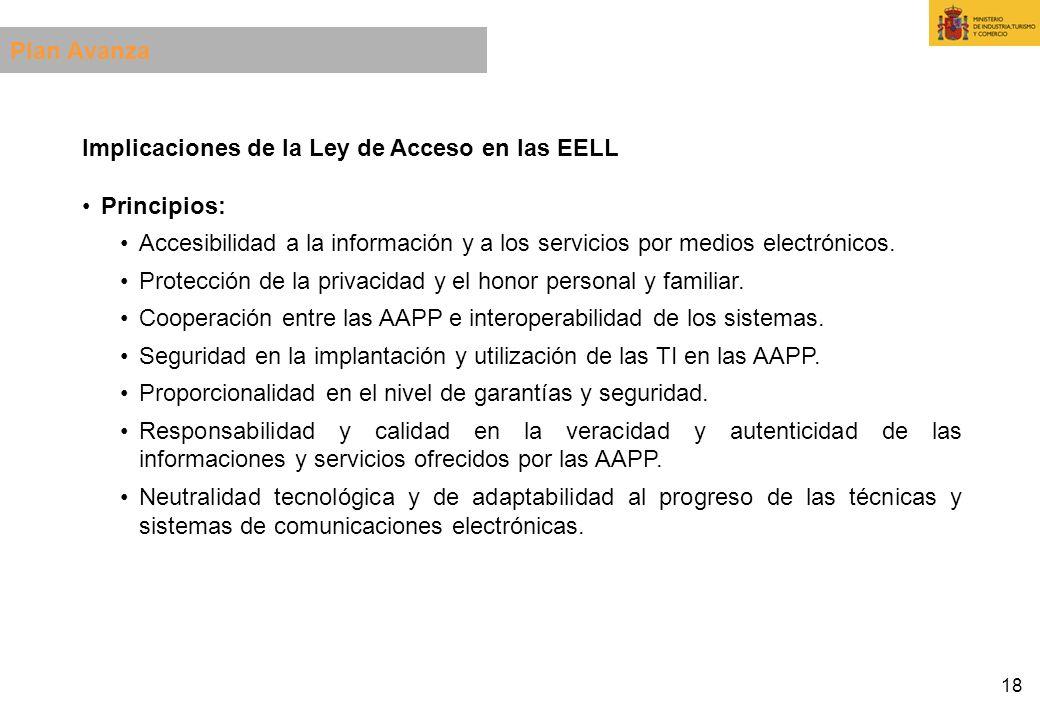 18 Implicaciones de la Ley de Acceso en las EELL Principios: Accesibilidad a la información y a los servicios por medios electrónicos. Protección de l