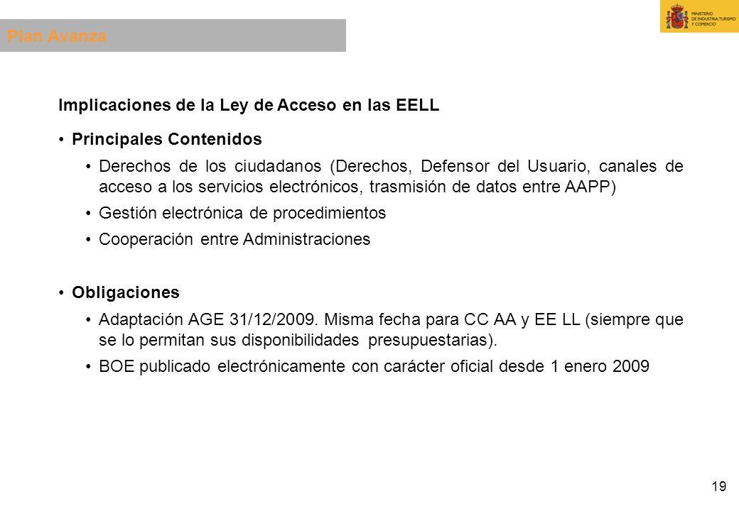 19 Implicaciones de la Ley de Acceso en las EELL Principales Contenidos Derechos de los ciudadanos (Derechos, Defensor del Usuario, canales de acceso