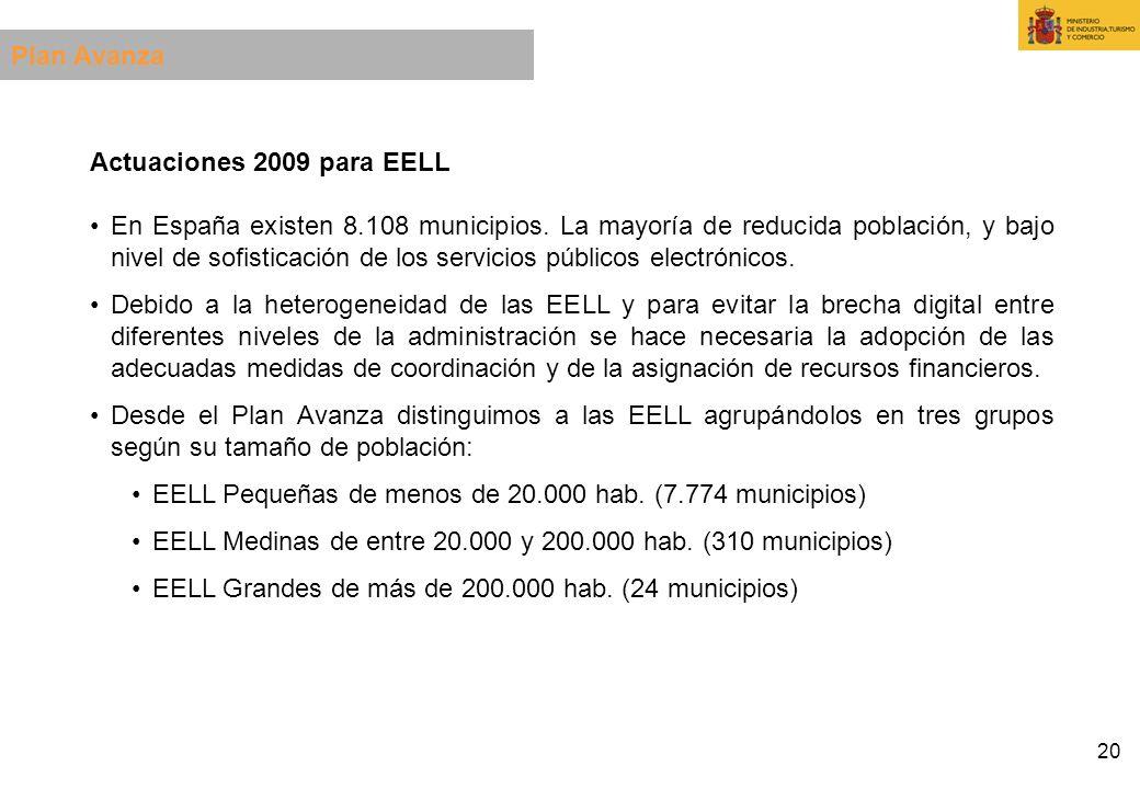20 Actuaciones 2009 para EELL En España existen 8.108 municipios. La mayoría de reducida población, y bajo nivel de sofisticación de los servicios púb