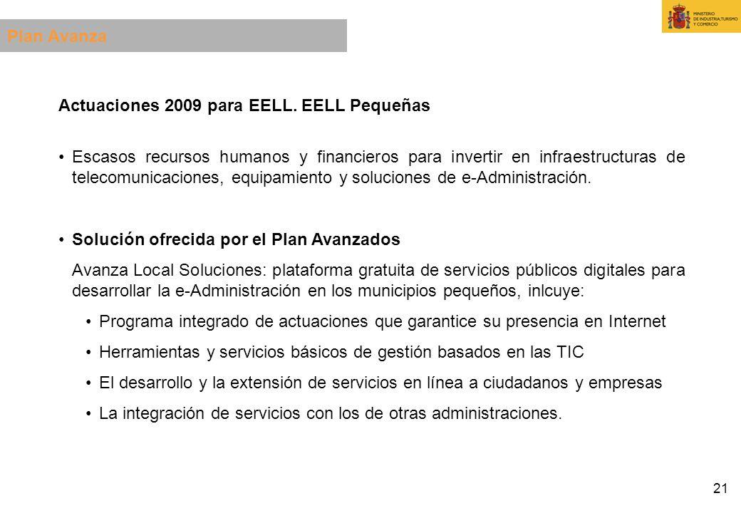 21 Actuaciones 2009 para EELL. EELL Pequeñas Escasos recursos humanos y financieros para invertir en infraestructuras de telecomunicaciones, equipamie