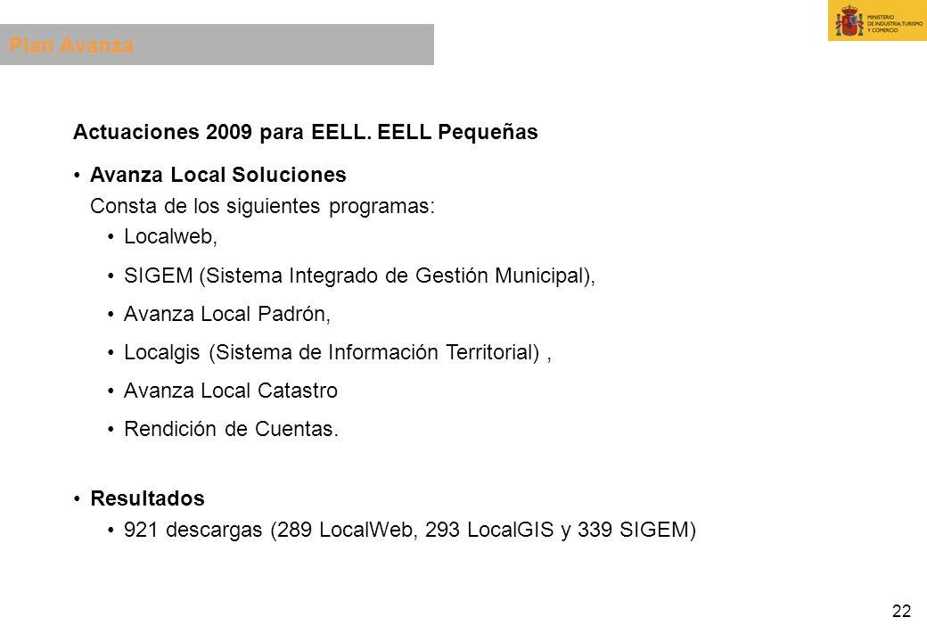22 Actuaciones 2009 para EELL. EELL Pequeñas Avanza Local Soluciones Consta de los siguientes programas: Localweb, SIGEM (Sistema Integrado de Gestión