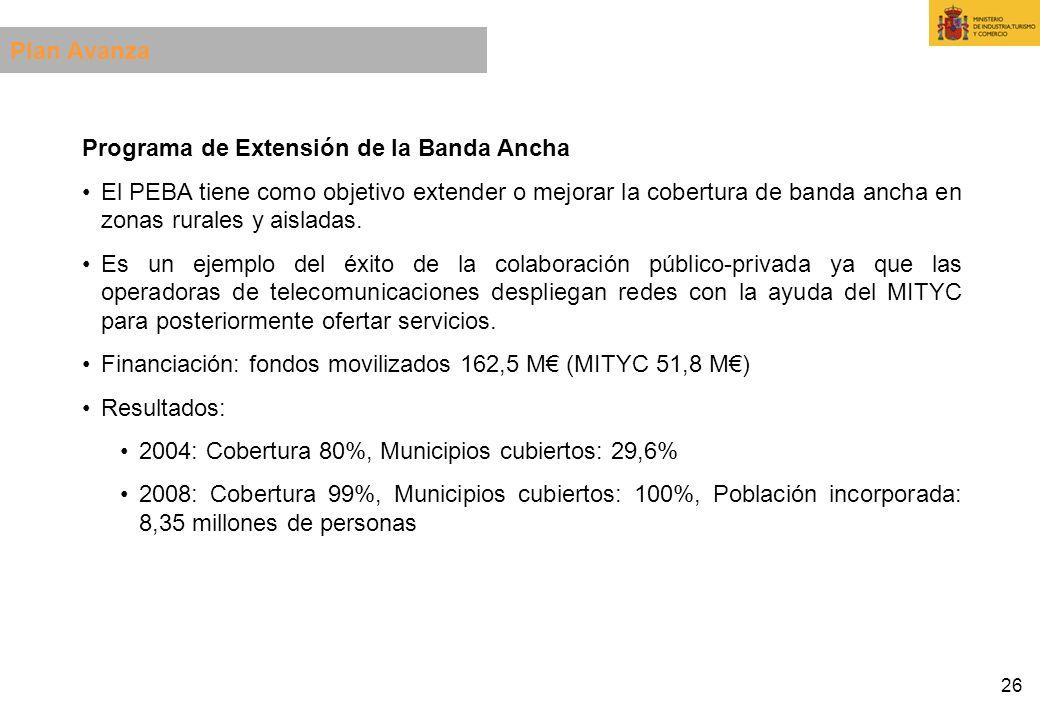 26 Programa de Extensión de la Banda Ancha El PEBA tiene como objetivo extender o mejorar la cobertura de banda ancha en zonas rurales y aisladas. Es