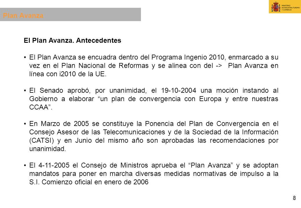 8 El Plan Avanza. Antecedentes El Plan Avanza se encuadra dentro del Programa Ingenio 2010, enmarcado a su vez en el Plan Nacional de Reformas y se al
