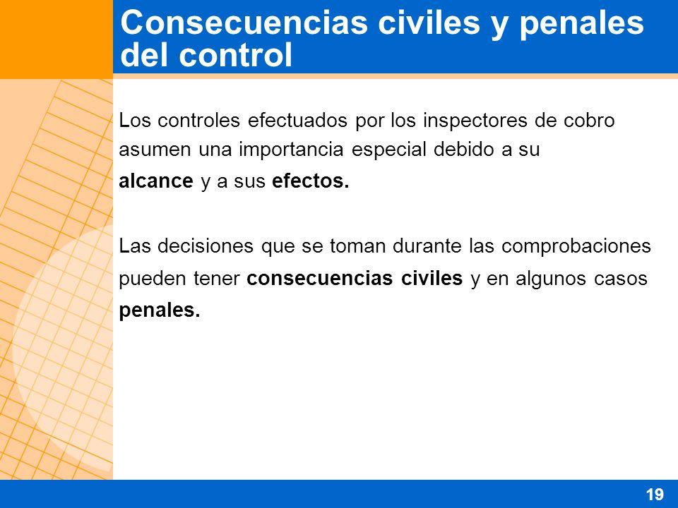 Los controles efectuados por los inspectores de cobro asumen una importancia especial debido a su alcance y a sus efectos. Las decisiones que se toman