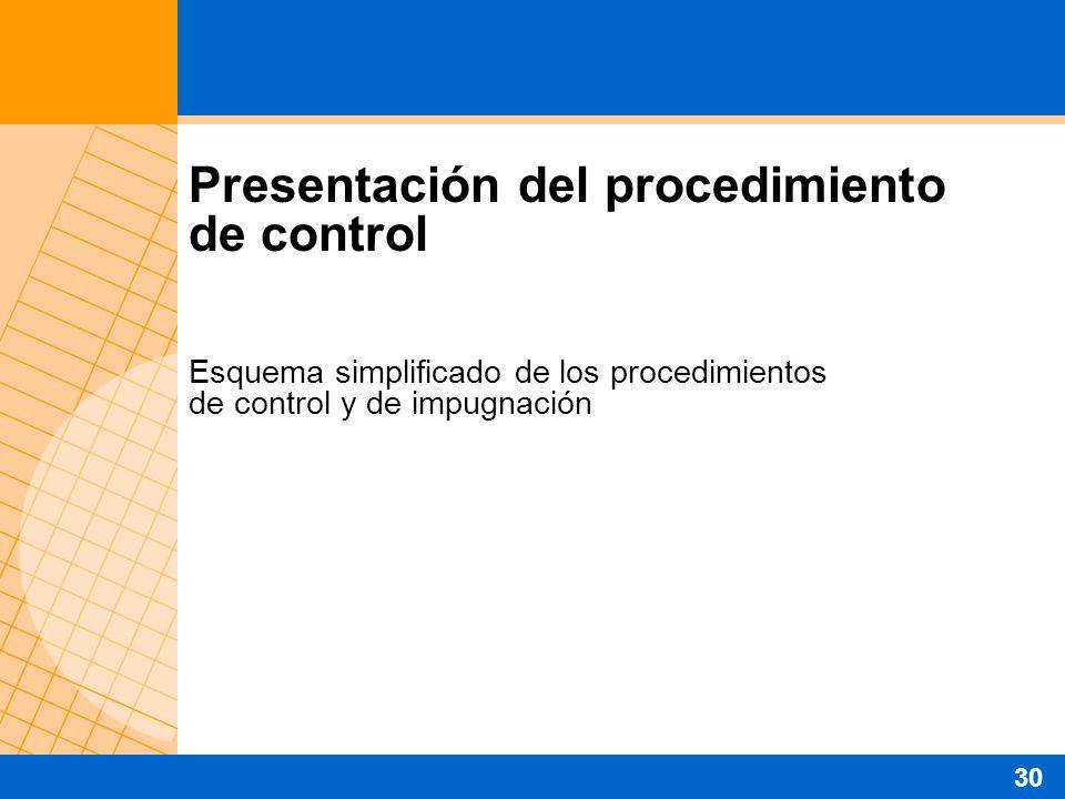 Presentación del procedimiento de control Esquema simplificado de los procedimientos de control y de impugnación 30