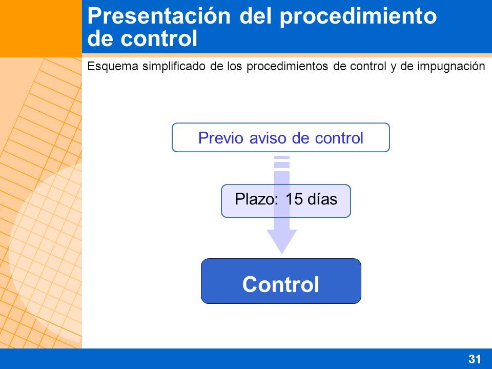 Presentación del procedimiento de control Esquema simplificado de los procedimientos de control y de impugnación Previo aviso de control Control Plazo: 15 días 31