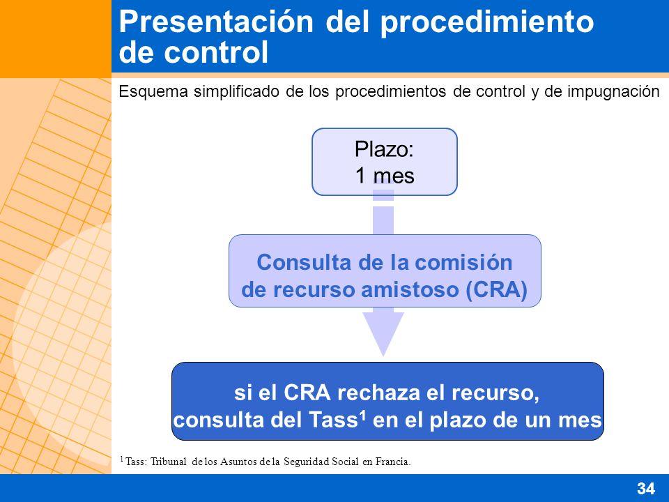 Presentación del procedimiento de control Esquema simplificado de los procedimientos de control y de impugnación Consulta de la comisión de recurso am