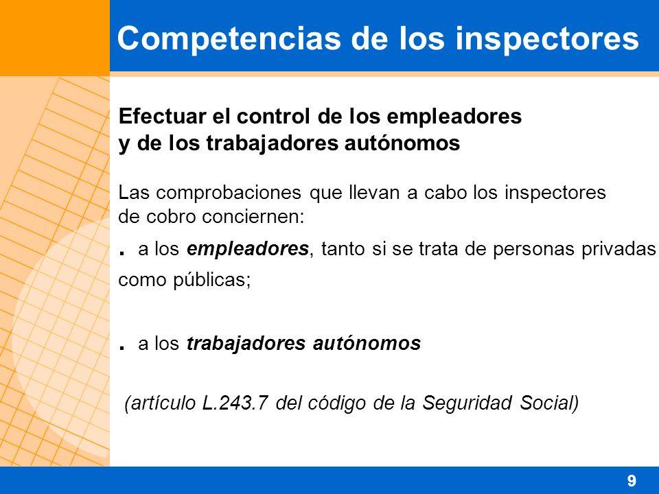Efectuar el control de los empleadores y de los trabajadores autónomos Las comprobaciones que llevan a cabo los inspectores de cobro conciernen:. a lo