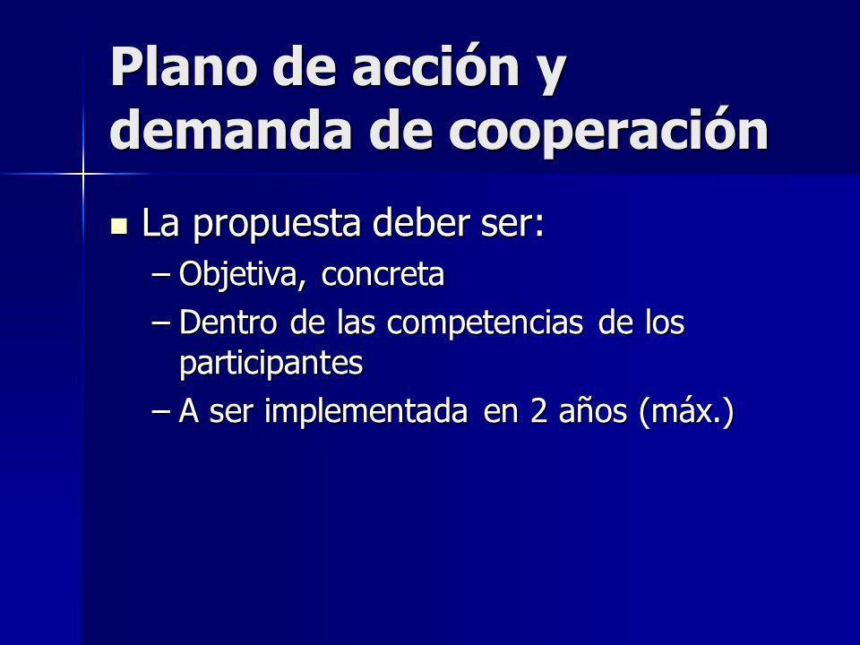 Plano de acción y demanda de cooperación La propuesta deber ser: La propuesta deber ser: –Objetiva, concreta –Dentro de las competencias de los participantes –A ser implementada en 2 años (máx.)