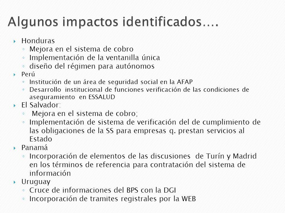 Honduras Mejora en el sistema de cobro Implementación de la ventanilla única diseño del régimen para autónomos Perú Institución de un área de seguridad social en la AFAP Desarrollo institucional de funciones verificación de las condiciones de aseguramiento en ESSALUD El Salvador: Mejora en el sistema de cobro; Implementación de sistema de verificación del de cumplimiento de las obligaciones de la SS para empresas q.