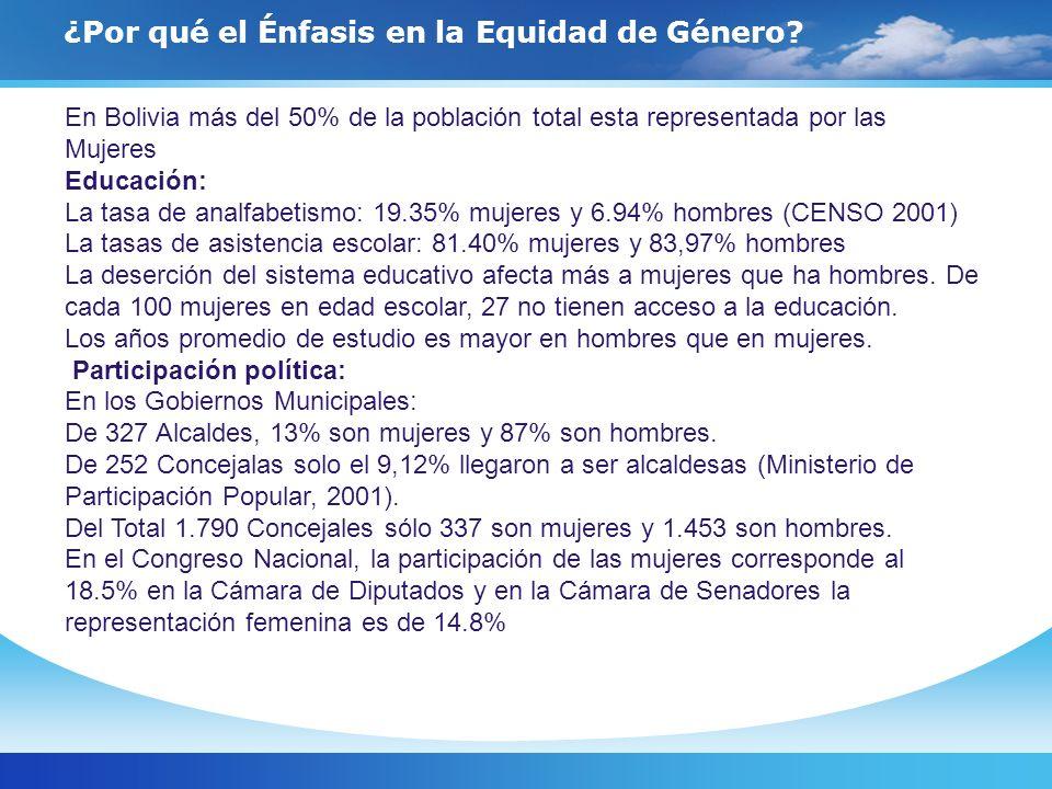 ¿Por qué el Énfasis en la Equidad de Género? En Bolivia más del 50% de la población total esta representada por las Mujeres Educación: La tasa de anal