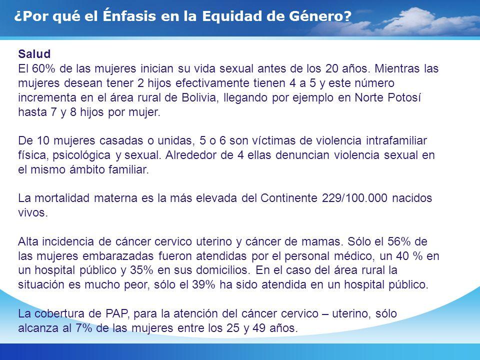 Salud El 60% de las mujeres inician su vida sexual antes de los 20 años. Mientras las mujeres desean tener 2 hijos efectivamente tienen 4 a 5 y este n