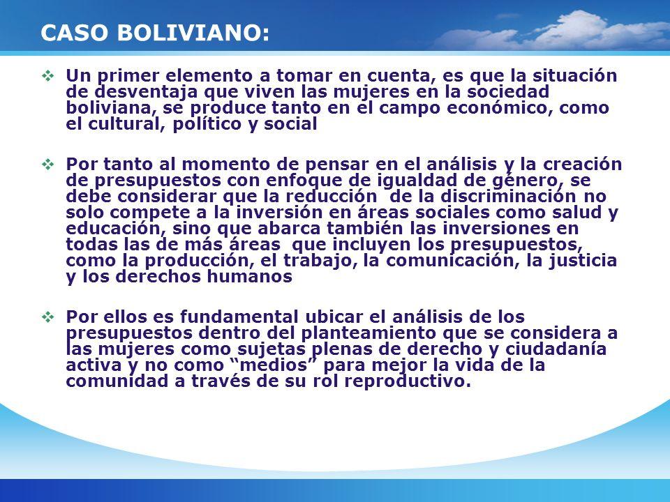 CASO BOLIVIANO: Es importante analizar los presupuestos definidos como los medios por los cuales se mejoran las oportunidades y el acceso de los ciudadanos y ciudadanas a los bienes, recursos y servicios públicos, hacia una mejor calidad de vida.