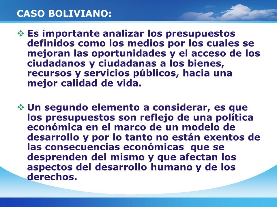 CASO BOLIVIANO: Es importante analizar los presupuestos definidos como los medios por los cuales se mejoran las oportunidades y el acceso de los ciuda