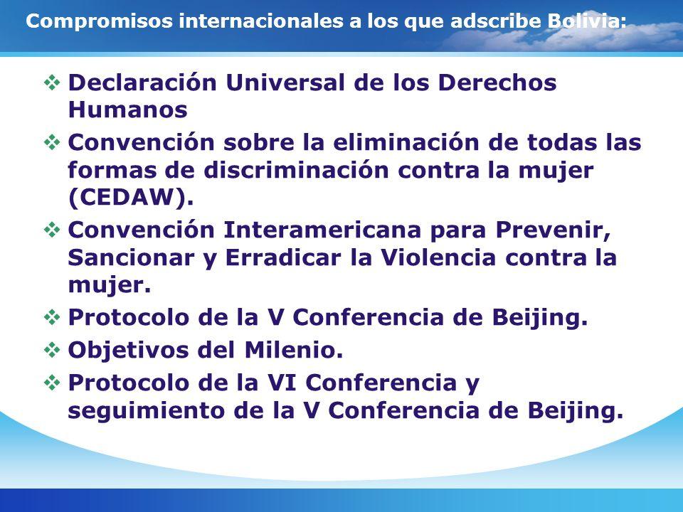 Bolivia cuenta con un amplio marco jurídico que promueve el ejercicio de los derechos y la participación ciudadana: Como resultado de los largos procesos de movilización social y compromisos internacionales asumidos por el Estado, Bolivia cuenta con un extenso marco legal para la equidad de género, que garantiza el ejercicio de los derechos políticos, sociales, económicos y culturales.