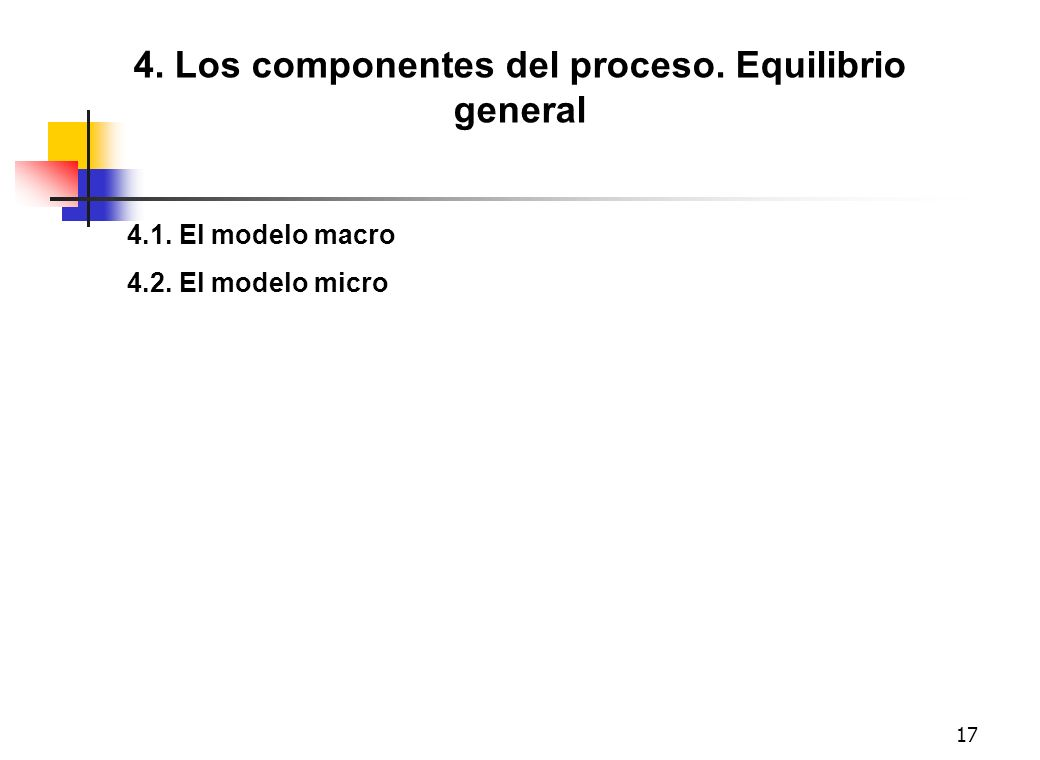 17 4. Los componentes del proceso. Equilibrio general 4.1. El modelo macro 4.2. El modelo micro