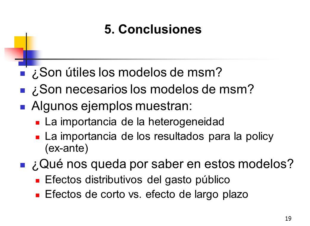 19 5. Conclusiones ¿Son útiles los modelos de msm? ¿Son necesarios los modelos de msm? Algunos ejemplos muestran: La importancia de la heterogeneidad