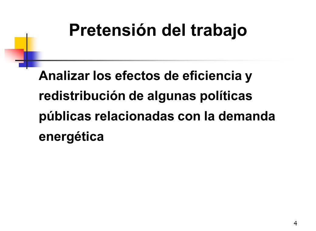 4 Pretensión del trabajo Analizar los efectos de eficiencia y redistribución de algunas políticas públicas relacionadas con la demanda energética