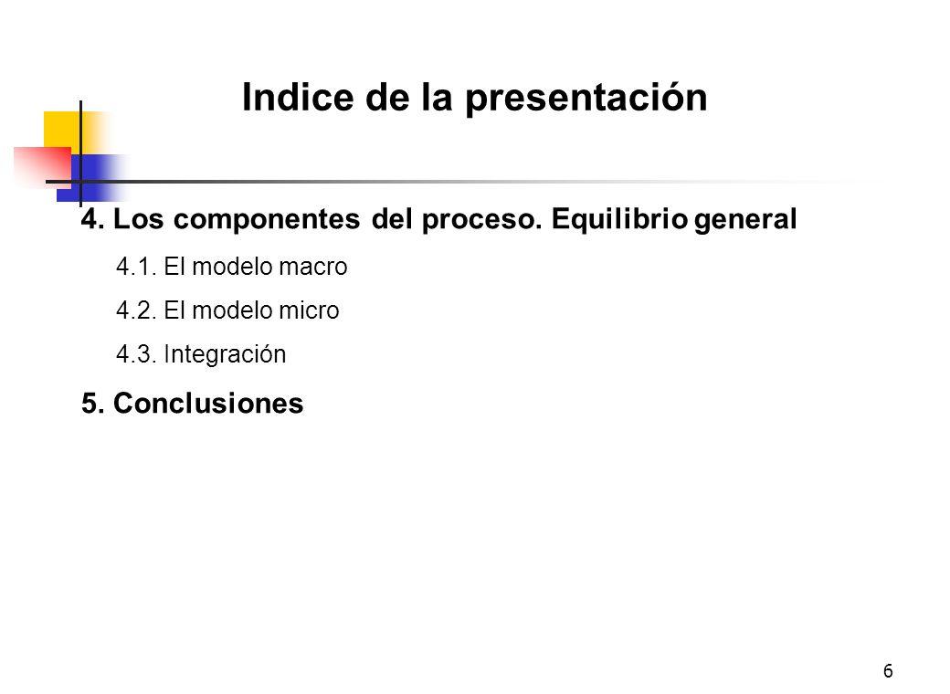 6 Indice de la presentación 4. Los componentes del proceso. Equilibrio general 4.1. El modelo macro 4.2. El modelo micro 4.3. Integración 5. Conclusio