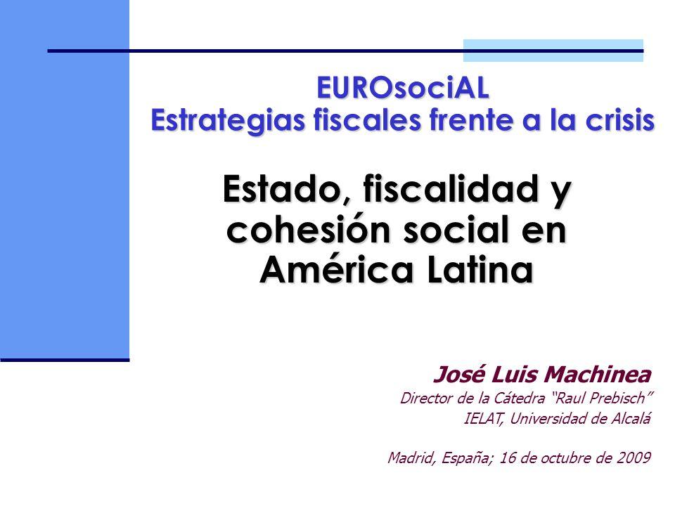 Estado, fiscalidad y cohesión social en América Latina José Luis Machinea Director de la Cátedra Raul Prebisch IELAT, Universidad de Alcalá Madrid, Es