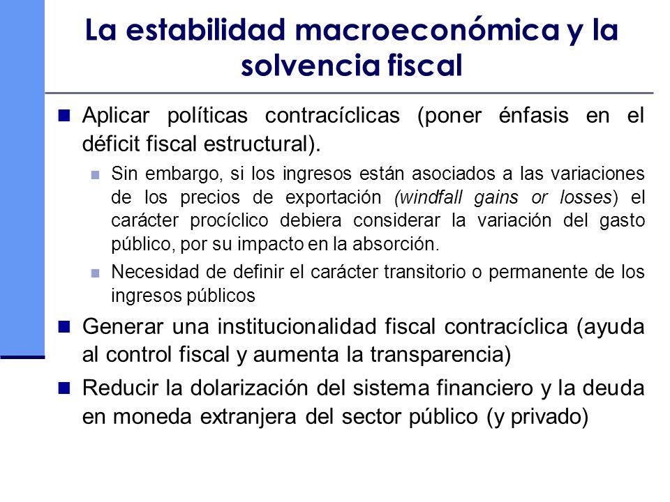 La estabilidad macroeconómica y la solvencia fiscal Aplicar políticas contracíclicas (poner énfasis en el déficit fiscal estructural). Sin embargo, si