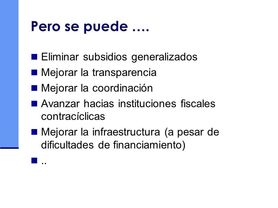 Pero se puede …. Eliminar subsidios generalizados Mejorar la transparencia Mejorar la coordinación Avanzar hacias instituciones fiscales contracíclica