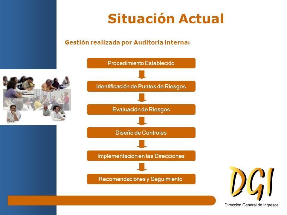 Gestión realizada por Auditoria interna: Situación Actual Procedimiento Establecido Recomendaciones y Seguimiento Identificación de Puntos de Riesgos Evaluación de Riesgos Diseño de Controles Implementación en las Direcciones